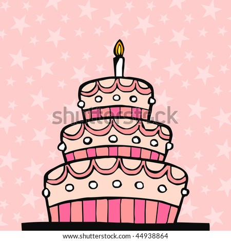 Pink birthday cake on pink background with stars