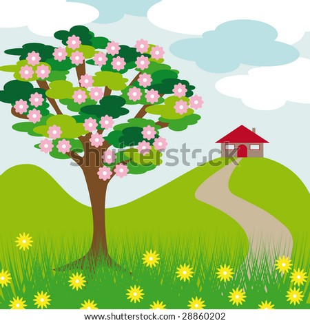 pink blossom tree hill and house with clouds and grass