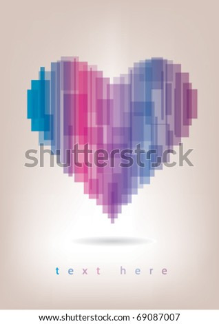 Pink-blue abstract heart - stock vector