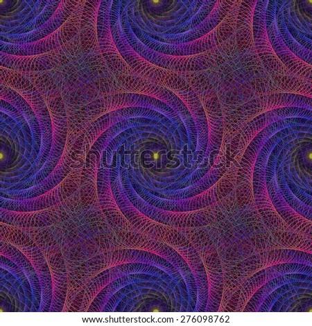 Pink blue colorful string fractal spiral design background - stock vector