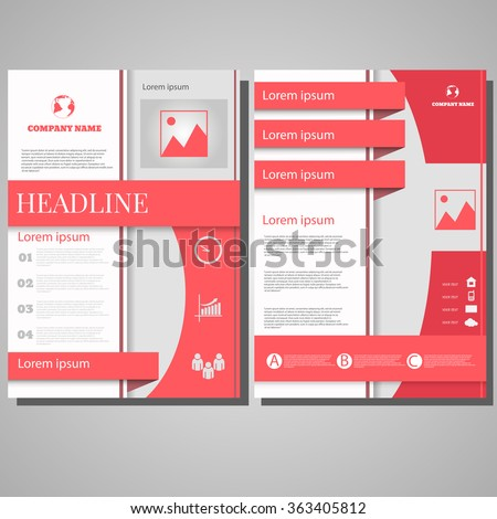 Pink Brochure Flyer design Layout template, size A4, Front page and back page design eps 10 - stock vector