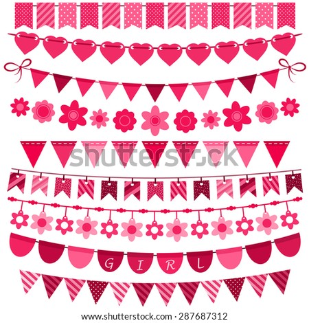 Pink bunting and garland set for girls - stock vector