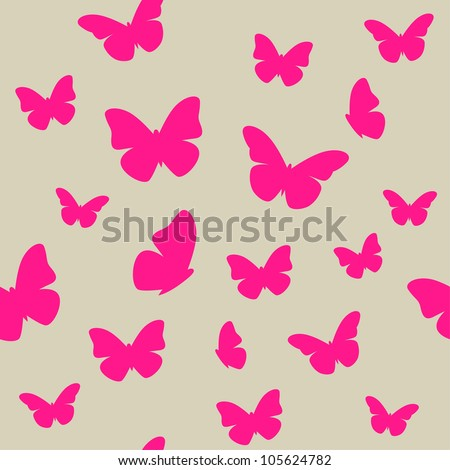 Pink butterfly on beige background. Seamless pattern. Vector - stock vector