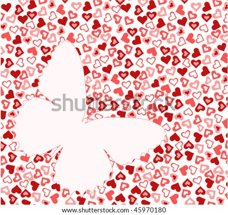 pink butterfly on heart texture vector - stock vector