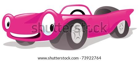 pink cabriolet car - stock vector