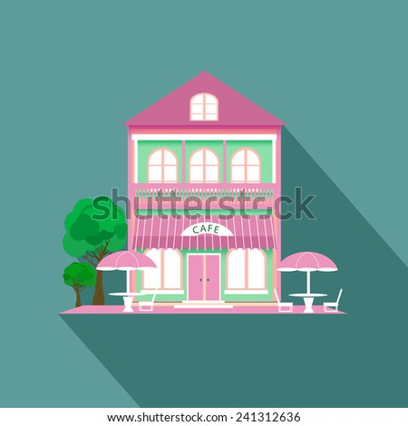 Pink cafe house with long shadow - stock vector