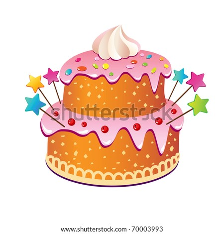 Pink cake to the children's holiday, birthday, wedding, Valentine's Day - stock vector