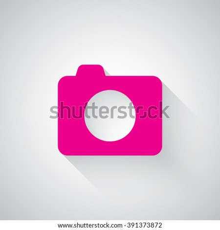 Pink Camera web icon on light grey background - stock vector
