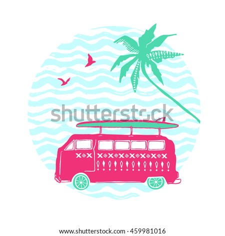 Pink car with surfing board and palm tree. Vector summer illustration.