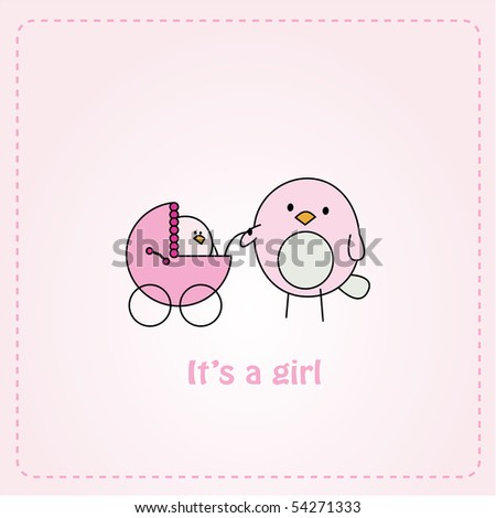 Pink card design with bird pushing a bird baby girl in a stroller - stock vector
