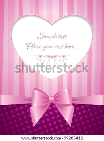 pink card with heart and glossy bow - stock vector