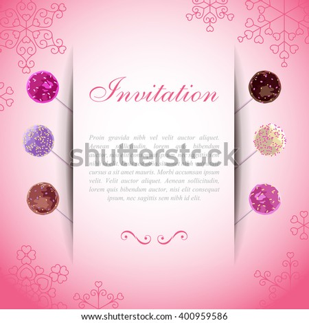 Pink card with paper web over sweet cake pops - stock vector