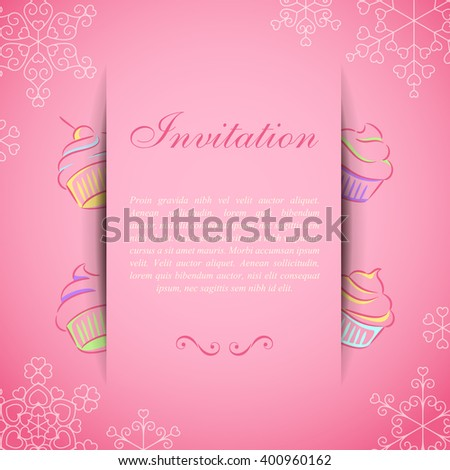 Pink card with paper web over sweet cupcakes - stock vector