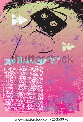Pink cassette Grunge style layout vector - stock vector