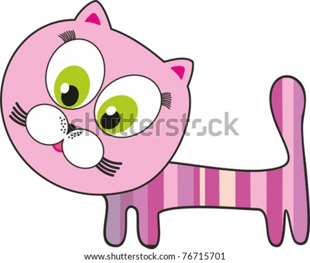 pink cat  isolated on White background. Vector illustration