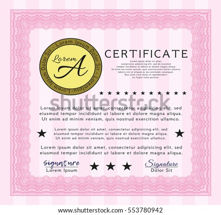 Pink Certificate template or diploma template. Retro design. Printer friendly. Customizable, Easy to edit and change colors.