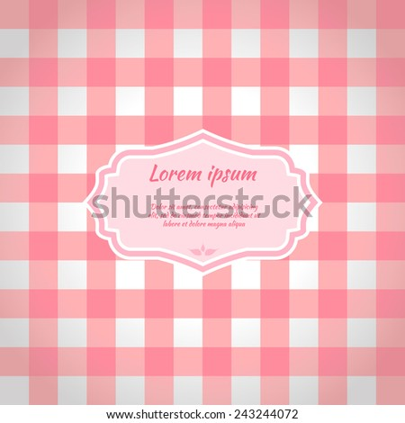 Pink Checkered Picnic Tablecloth. Seamless Pattern. Vector Illustration