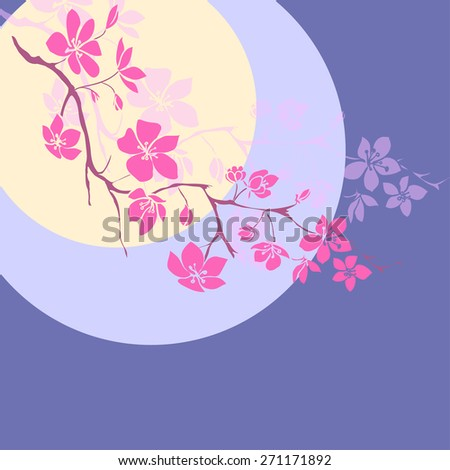 pink cherry blossoms branch is on the background of the moon. Vector illustration - stock vector
