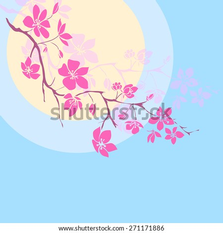 pink cherry blossoms branch is on the sunset background. Vector illustration - stock vector