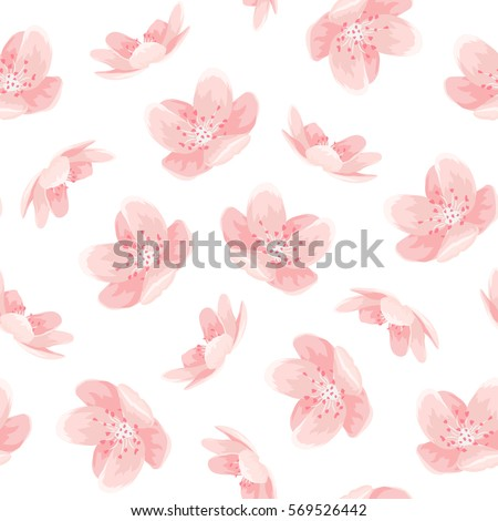Pink cherry sakura japanese spring flowers seamless pattern. Tree bloom blossom. Feminine girlish style mood. Vector design illustration.