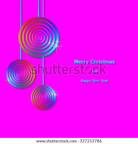 Pink Christmas background with hanging abstract Christmas balls with a white star on a blue ribbon with blue lettering Merry Christmas and happy new year with shadow on a pink background - stock vector