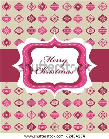 Pink Christmas background with retro frame and Christmas balls, vector illustration - stock vector