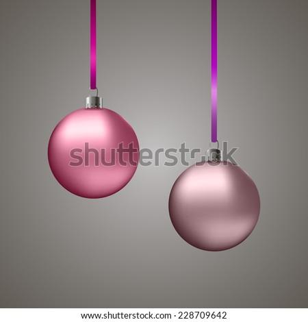 Pink Christmas balls on grey background,EPS10 - stock vector