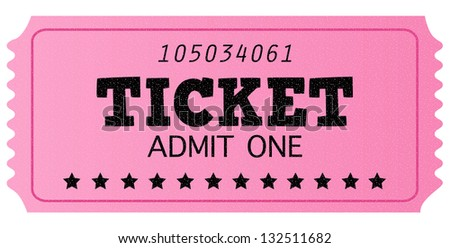 Pink cinema retro admit one ticket isolated on white - stock vector