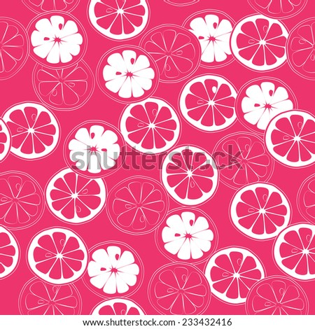 Pink Citrus Cheerful seamless pattern. Vector background. Use for textiles, pillow & interior decoration, wallpaper, web page background, surface textures, wrapping paper, food & cosmetics labeling. - stock vector