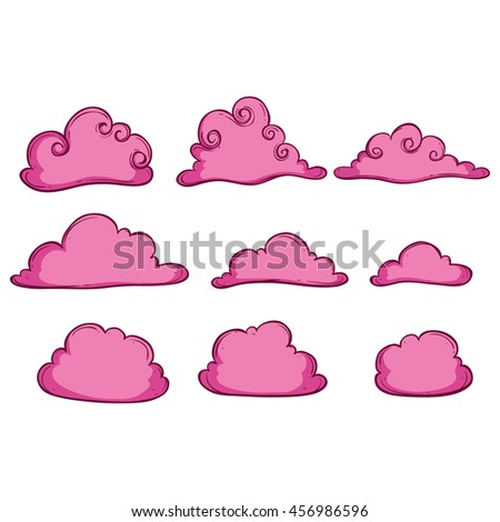 Pink clouds collection with using doodle art - stock vector