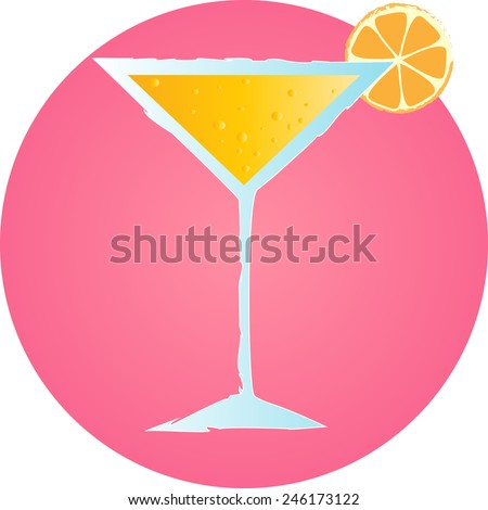 Pink cocktail party. Alcohol cocktail in glass  with orange and bubbles - stock vector