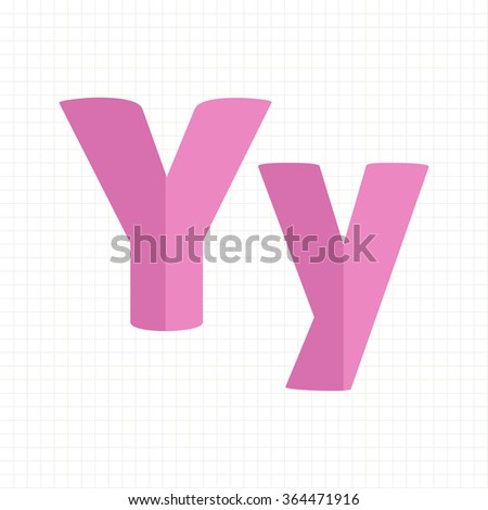 pink color alphabet letters Y - stock vector