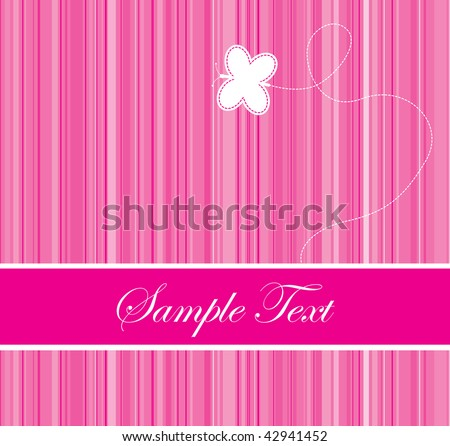pink colored barcode background with a butterfly - stock vector