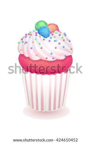 Pink cupcake cream marmalade and multicolor sugar beads. Realistic vector illustration. Isolated cake candy confection lollipops sweet-stuff sweetmeats  candy-shop bakery pastry cook