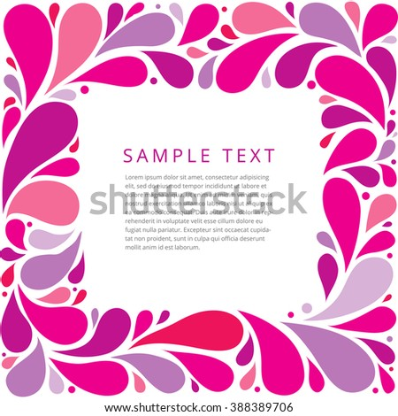 Pink curly abstract floral frame. Vector illustration