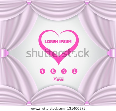 Pink Curtain Frame Vector - stock vector