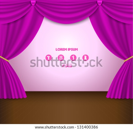 Pink Curtain Vector - stock vector