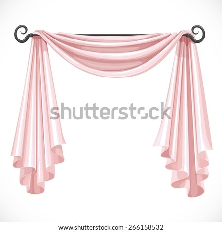 Pink curtains on the ledge forged isolated on a white background - stock vector