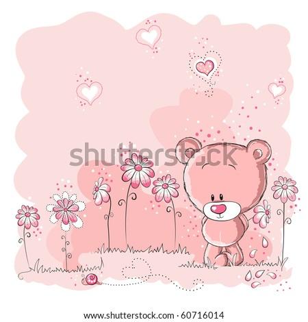 Pink cute bear holding a flower - stock vector