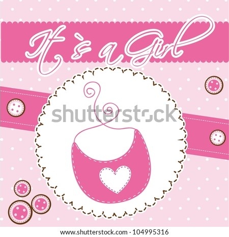 pink cute card with bib, baby shower. vector illustration - stock vector