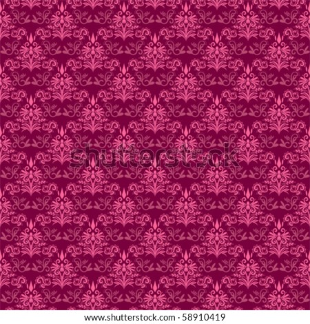 Pink damask seamless pattern - stock vector