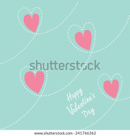 Pink dash line heart background. Flat design Happy Valentines day card Flat design Vector illustration.