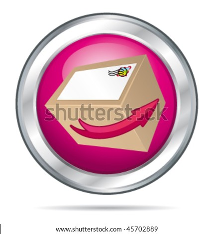 Pink delivery concept button with card-box. Vector illustration. - stock vector