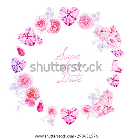 Pink diamonds, peonies and roses round vector frame. All elements are isolated and editable. - stock vector