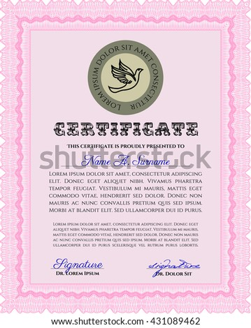 Pink Diploma template or certificate template. Vector pattern that is used in money and certificate. With quality background. Artistry design.