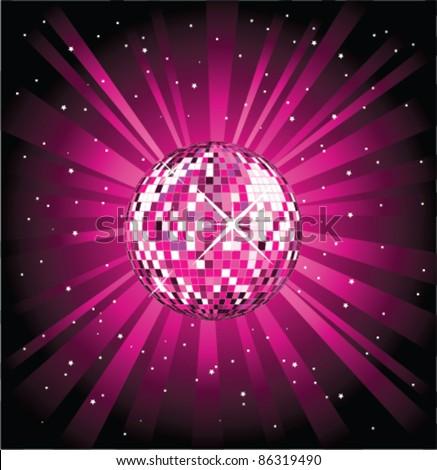 Pink disco ball - stock vector
