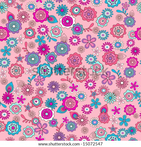 Pink Ditsy Flowers Seamless Vector Repeat Pattern Illustration - stock vector