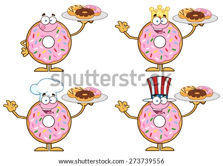 Pink Donut Cartoon Character With Sprinkles 2. Vector Collection Set Isolated On White - stock vector