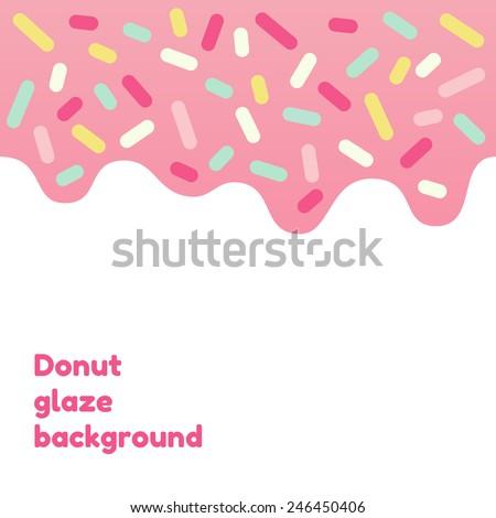 Pink donut glaze background with many decorative sprinkles  - stock vector