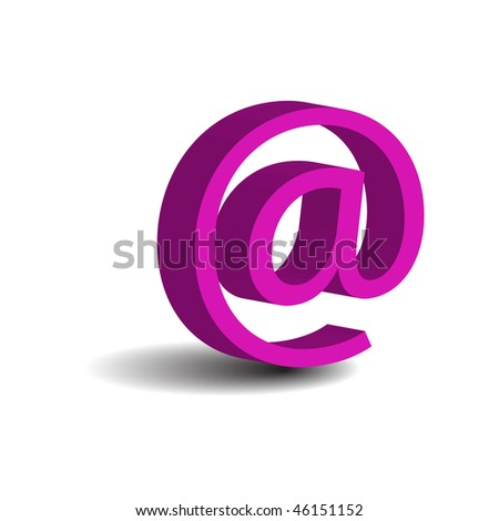 pink e-mail sign - stock vector